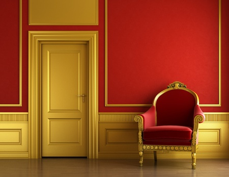 interior design of stylish classic room in red and golden colors with velvet armchair and copy space
