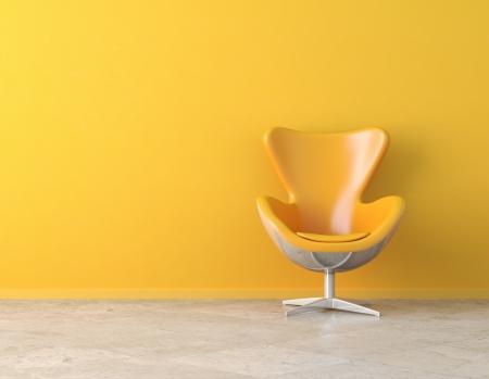 Stuhl: Gelbe einfache Interieur mit Stuhl und Kopie Spaceon der Wand