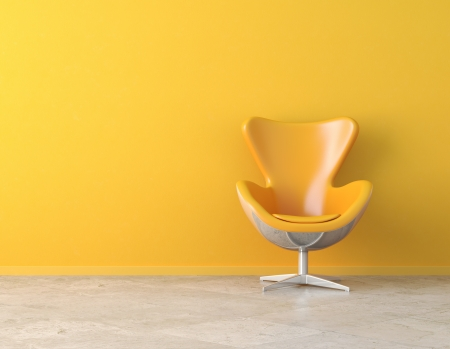yellow wall: yellow simple interior with chair and copy spaceon the wall