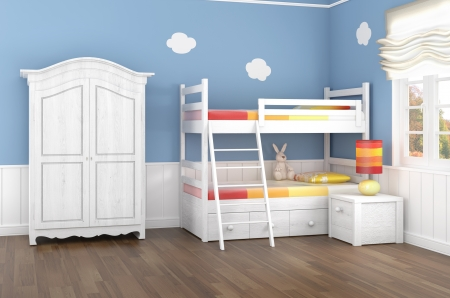 Childrens bedroom in blue walls with bunk bed and wardrobe photo