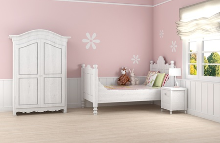 Girl's room in pink walls with white bed and wardrobe Stock Photo