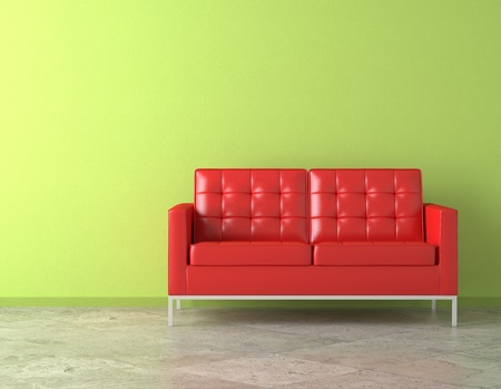 inter scene of vivid red couch on green vibrant wall Stock Photo - 9157921