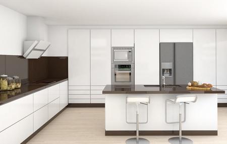 Interior Design einer modernen Küche in weiß und braun Farben Frontalansicht