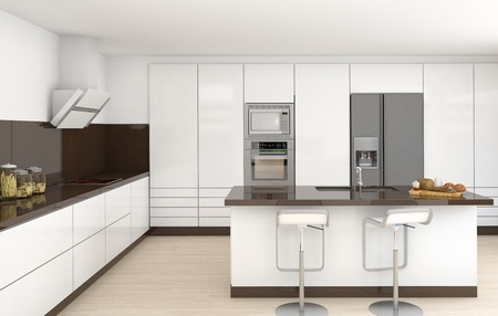 frontal view: interior design of a modern kitchen in white and brown colors frontal view
