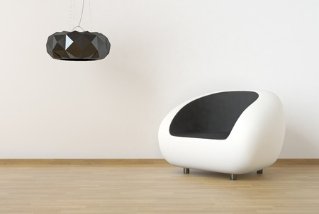 inter design scene with white and black furniture on a clean wall Stock Photo - 9384135