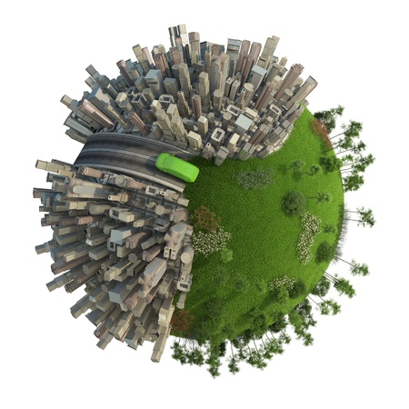 urbanization: conceptual miniature planet for environmental change and green energy tranportation isolated and with clipping path
