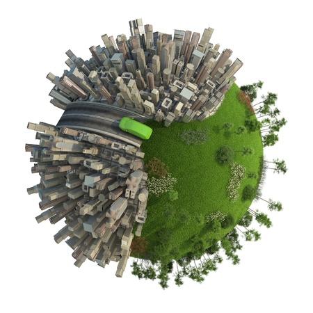 eco car: conceptuele miniatuur planeet voor veranderingen in het milieu en groene energie tranportation geïsoleerd en met uitknippad Stockfoto