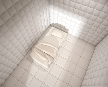 nuthouse: mental hospital padded room seen from above with a single bed