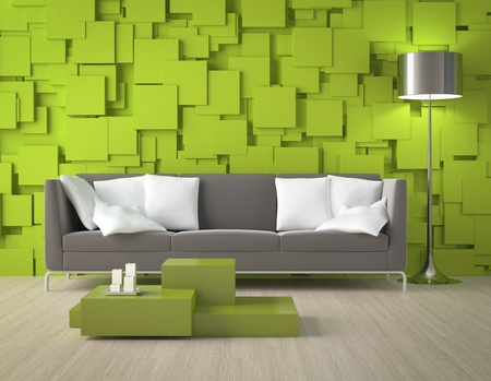 decor: Interior design of a modern interior room with green wall made of blocks and furniture