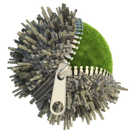 urbanization: conceptual miniature planet with an open zip fastener for environmental change isolated on white