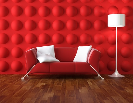 interior design of modern room in red and white colors Stock Photo