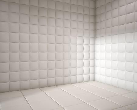 blanco hospital mental acolchada habitación vacía con espacio de copia