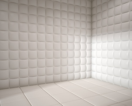tratment: white mental hospital padded room empty with copy space