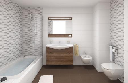 bad fliesen: Innen-Szene von einem modernen Badezimmer in wei�en und braunen Farben