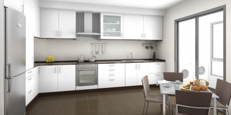 clean kitchen: Interior scene of a white and brown kitchen with a breackfast table Stock Photo