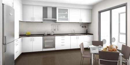 frigo: Sc�ne d'int�rieur d'une cuisine blanche et marron avec une table de petit dejeuner