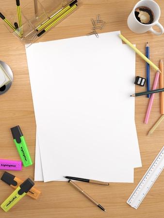 papeleria: hoja blanca vac�a con un mont�n de objetos de papeler�a convierte un espacio de gran copia para usted mensaje o dibujo