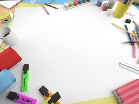 student desk: white canvas on a drawing table with lots of stationery objects making a center copy space for you text or design in a close up view