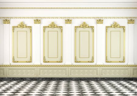 palaces: 3d scene of a white classic wall with golden moldings and marble floor Stock Photo