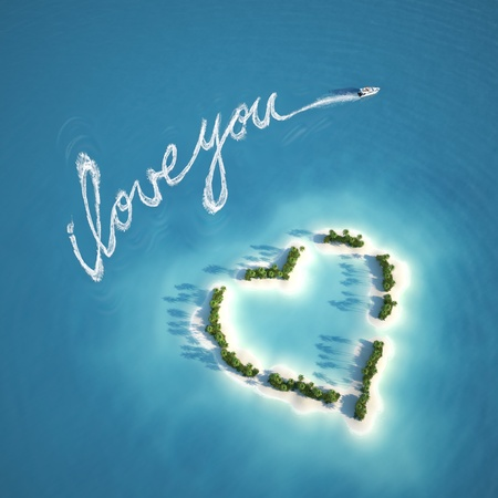 honeymoon: boat writing a love message with the trail on the water near a heart shape island ideal for valentines post card Stock Photo