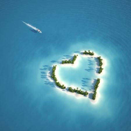 ヨットのハート形のロマンチックな休暇やバレンタインの air のコンセプトから見た島へ向かう