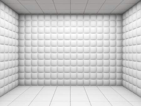 psychiatrique: blanc chambre d'h�pital mentale rembourr�e vide, avec copie espace
