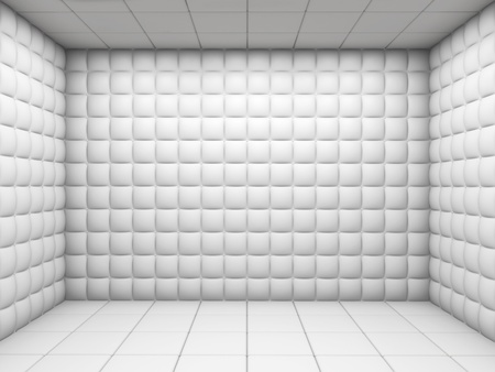 white mental hospital padded room empty with copy space Stock Photo - 11755382