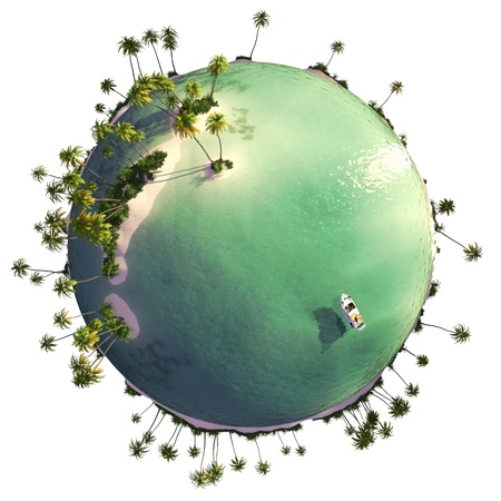 Paradise island globe as concept for quiet exotic travel gataway isolated on white