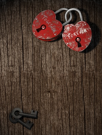 two padlocks with together forever writen as concept for eternal  love on a wood background vertical