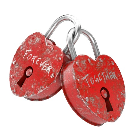 two padlocks with forever together writen as concept for love   Stock Photo