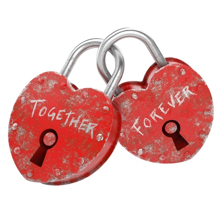two padlocks with together forever writen as concept for eternal  love  Stock Photo