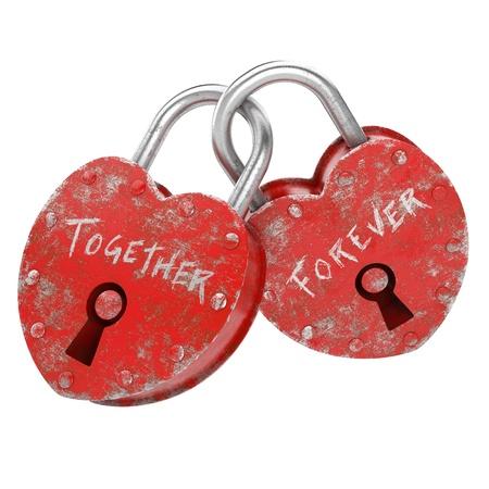 versprechen: zwei Vorhängeschlösser mit immer zusammen als Konzept für die ewige Liebe writen Lizenzfreie Bilder