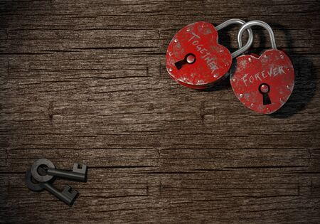 padlocks: two padlocks with together forever writen as concept for eternal  love on a wood background Stock Photo