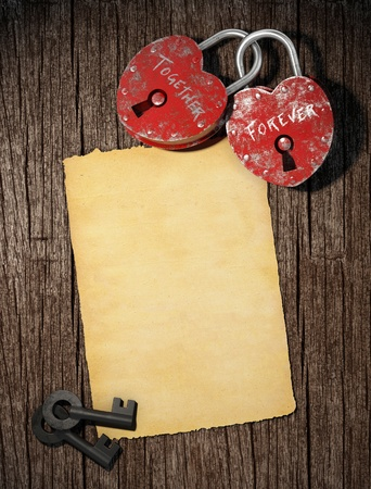love letter background with two padllocks keys and a blank paper with copy space for valentines day photo