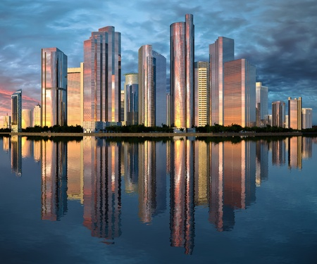 rise to the top: highrise glass skyscraper buildings skyline reflected on water against a clouded sky