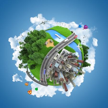 earth road: globo concept che mostra i diversi modi di trasporto e stili di vita nel mondo