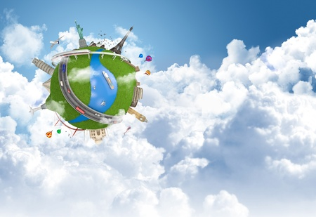 world travel globe concept with landmarks flying above the clouds photo