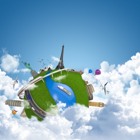 globe theatre: world travel globe concept with landmarks above the clouds as dreamy vacations Stock Photo