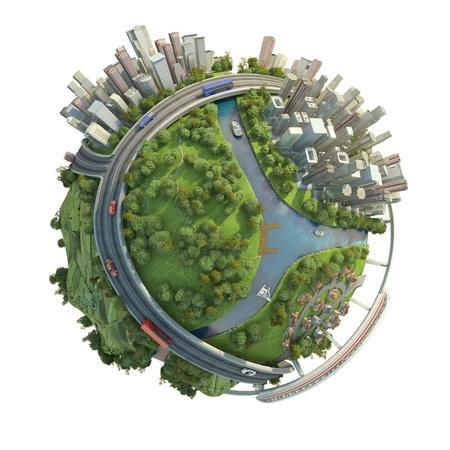 globo terraqueo: concepto de mundo en miniatura que muestra los distintos modos de transporte y estilos de vida en el mundo, aisladas sobre fondo blanco