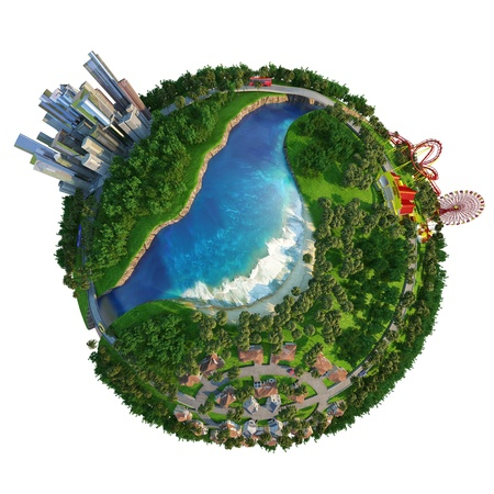 amusment: Globe showing three different activities of modern lifestyle, home at suburbs, down town to work, and amusment park for leisure time. Stock Photo