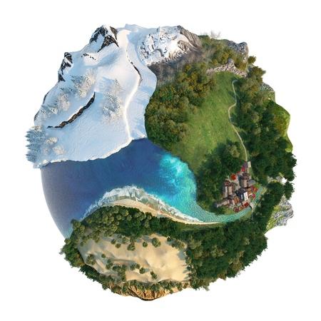 Geïsoleerde conceptuele wereldbol met diversiteit in natuurlijke landschappen en omgevingen zie mijn andere mini-woord concepten