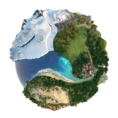 Isolated conceptual globe with diversity in natural landscapes and environments see my others mini-word concepts