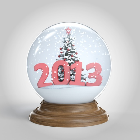 snowglobe isolated with chrismas tree and a big 2013 as new year present  photo