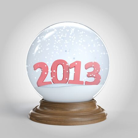 isolated snowglobe with 2013 new year in big red numbers  photo