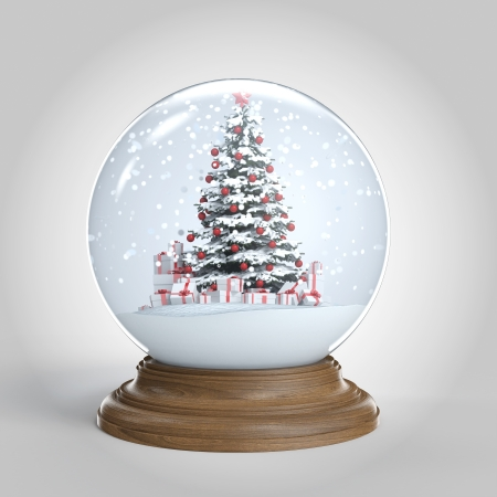 snowglobe with a red decorated christmas tree and presents isoalted on white,