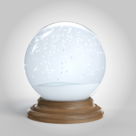 Empty snowglobe isolated on white background with copy space for your own content  included photo