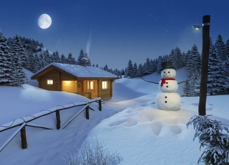 snowman: cozy log cottage in a winter scene with snowman, christmas lights and a big moon on the sky
