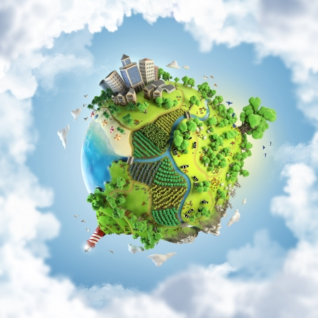 cartoony: globe concept showing a green, peaceful and idyllic life style in the world in a cartoony style