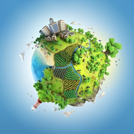 green planet: globe concept showing a green, peaceful and idyllic life style in the world in a cartoony style