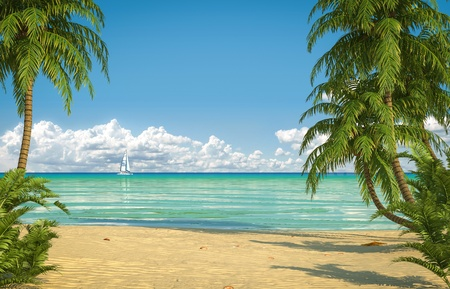 frontal view: Frontal view of an empty caribbean beach with copy space